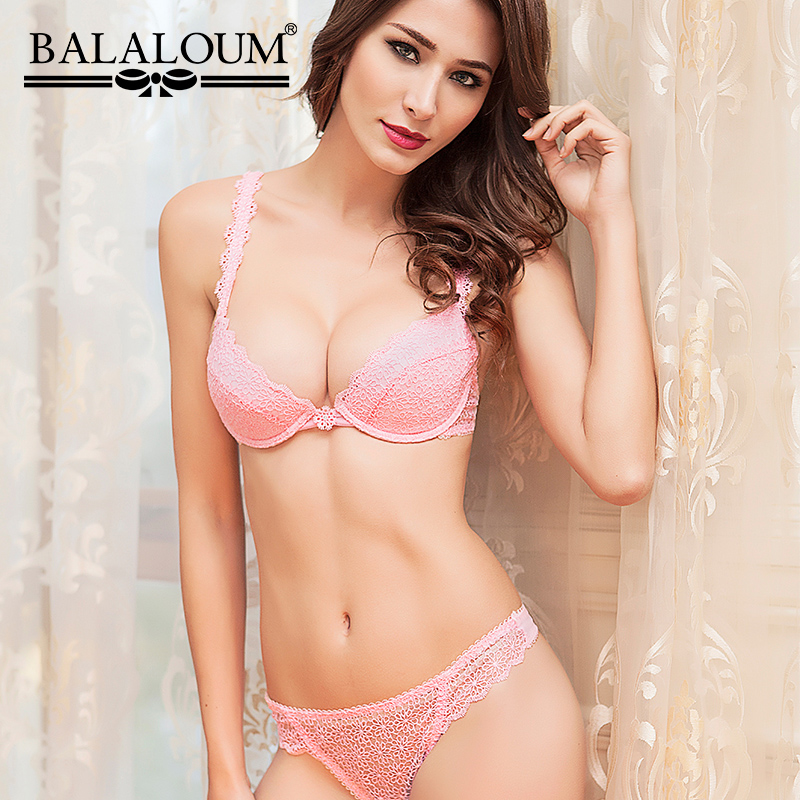 Balaloum Sexy Women Push Up   Bra   and Panty   Sets   Floral Embroidery Female Lingerie   Set   T Back Thongs G-String Hollow Out Seamless