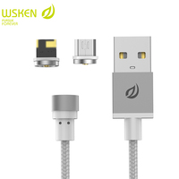 WSKEN 2 in 1 Round USB Cable For iPhone & Micro USB Cable Magnetic Charger Mobile Phone Cables for Samsung S7 for iPhone Cable