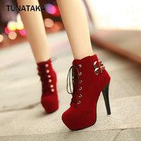 2013 Women Fashion Sexy Stiletto Heels Buckle Lace Ankle Boots Platform 12cm Heel Pumps Size 3