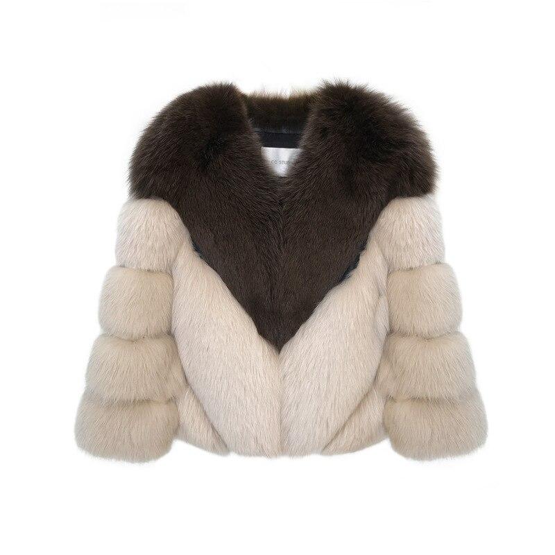 Nouvelle Court Pardessus Imitation Fausse De Haute Mosaïque Beige Vêtements Femelle Manteau Renard Fourrure Mode En Femmes D'hiver zxSr7z