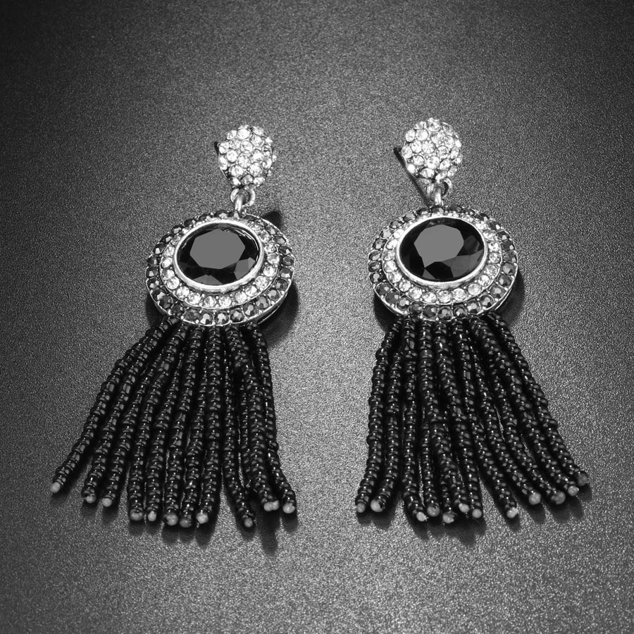 Kinel Natural Beads Black Tassel Earrings For Women Vintage Jewelry Antique Silver Color Inlaid Crystal Long Drop Earrings New