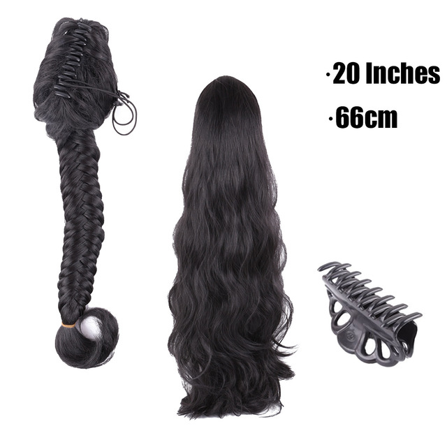 Soft Black 1b Synthetic Plait Claw Clip Ponytail Hair Extensions For