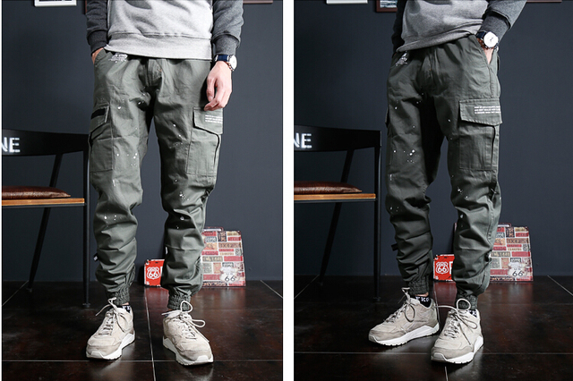 New Trend Men Casual Pants High Quality Hip Hop Harem Pants Big Pockets Solid Sweatpants 3 Colors DX620
