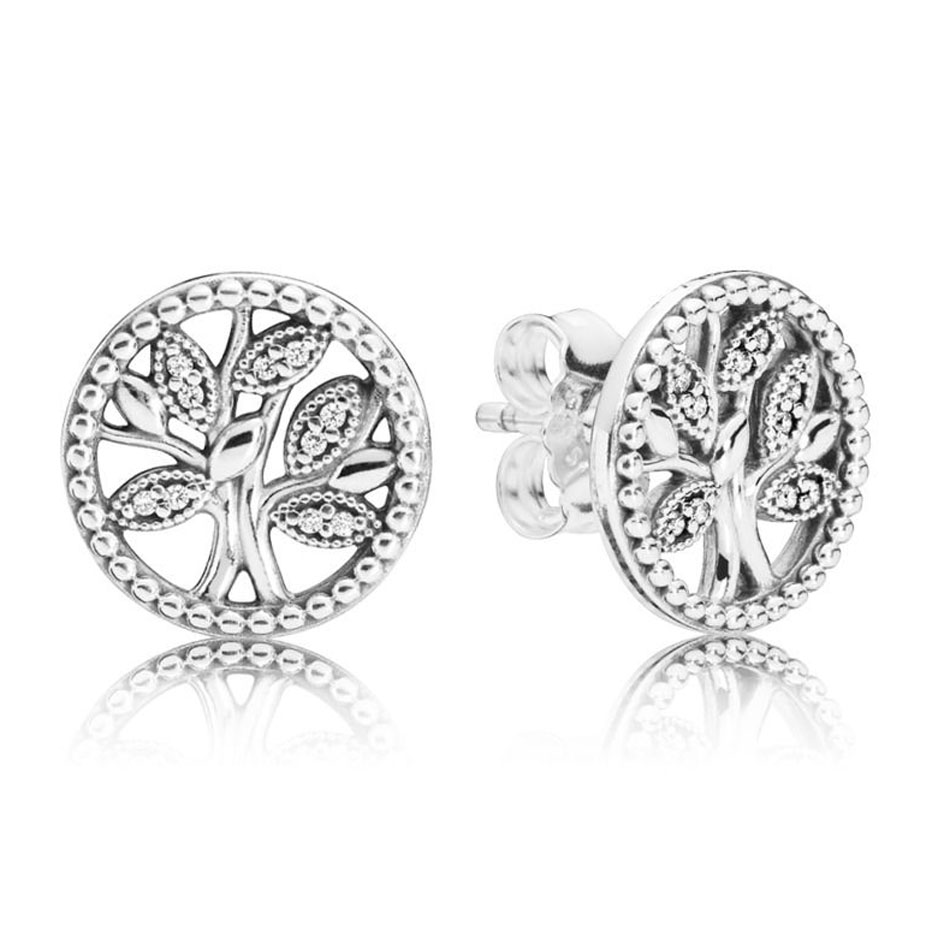 Authentic S925 Sterling Silver Women DIY Jewelry Lady Earrings Tree of Life Stud EarringsAuthentic S925 Sterling Silver Women DIY Jewelry Lady Earrings Tree of Life Stud Earrings