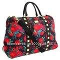 Laço cor de rosa sacos de viagem crânio Rebite diagonal através do saco de Fim de Semana saco de viagem bagagem de mão sacos de duffle