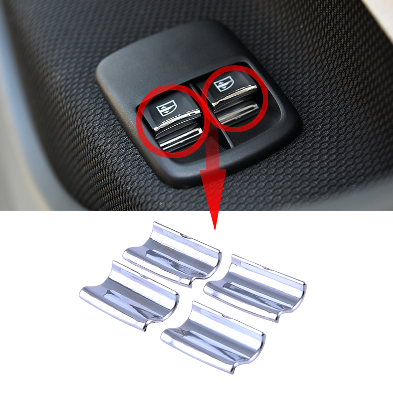 For New Smart 453 Fortwo Forfour Window Button Sequins Decorative Car Interior 3D Stickers Car Styling Accessories 4 Pieces