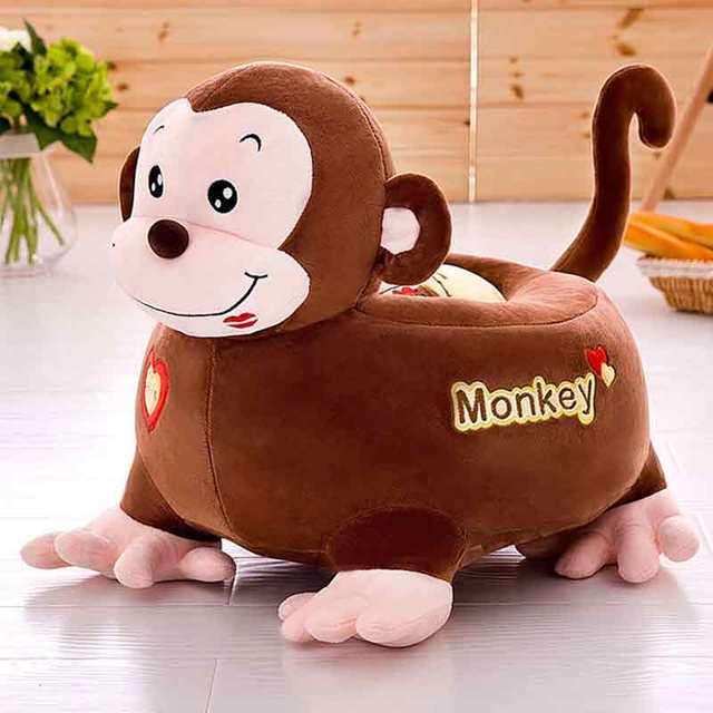 Plush Toy Cartoon Mini Sofa Creative Lazy Removable Backrest Chair Stool  Kids Toys Giraffe Elephant Monkey Christmas Gift
