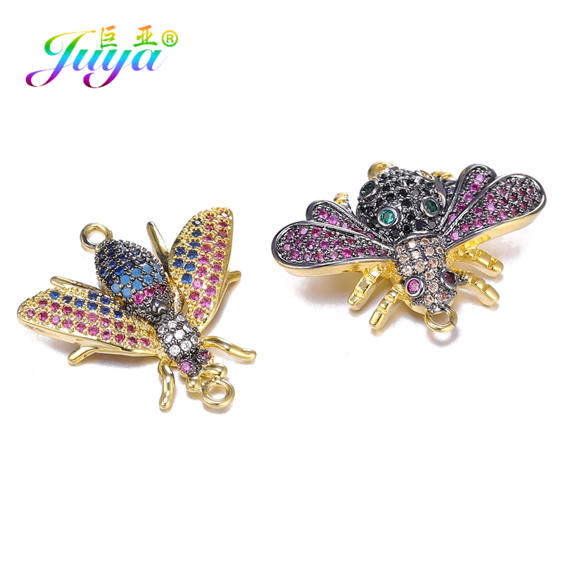 Juya DIY Jewelry Findings Hand Made Colorful Gem Insect Charms Butterfly BumbleBee Connectors For Bracelets Earrings Making