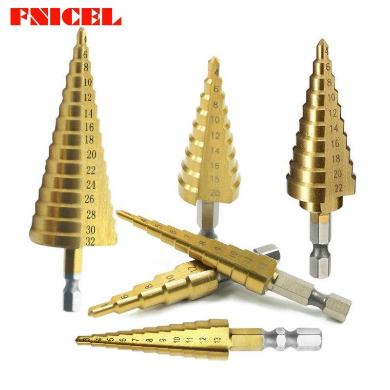 """Juego de brocas cónicas de cono Hss, cortador de agujeros métrico de 1/4 """", brocas hexagonales de Metal recubiertas de titanio 3 -12/4-12 13mm/20/22/32mm"""