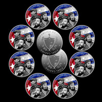 Wholesale Silver Coin Famous Person Castro Metal Coin Round Coin with Plastic Case for Home Decor and Collection 10pcs/lot