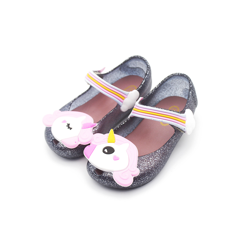 Mini Melissa Cute Unicorn Jelly Sandals 2019 New Girls Shoes Jelly Shoes Dargon Sandals Girl Non-slip Kids Sandals Toddler