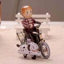 Retro Bicycle Riding Boy Tinplate Clockwork Collections Vintage Tin Wind Up Toys Classic Handmade Crafts