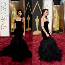 CYF42 OSCARS2016 Special Occasion Dress Long Black Mermaid Evening Dresses Tiered RufflesTulle Faishtail Prom Gown Lace Up Back