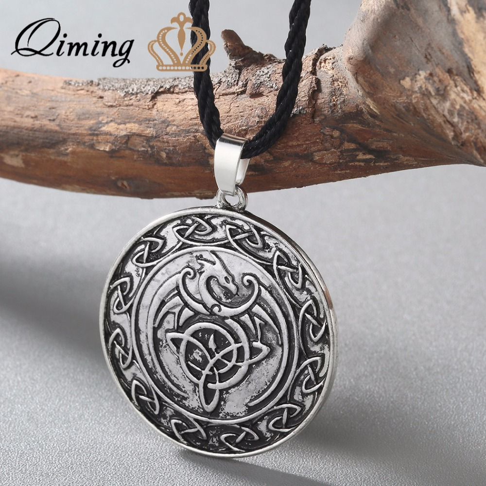 Necklaces & Pendants Qiming Valknut Double Side Viking Slavic Talisman Knot Celtic Dragon Pendant Necklace Talisman Charm Vintage Men Necklace Cleaning The Oral Cavity.