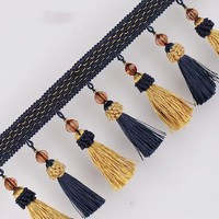 1 Metre Strewberry Beaded Fringe Lace Curtain Tassel Trim And Ribbon Crystal For Sewing Curtain Accessories
