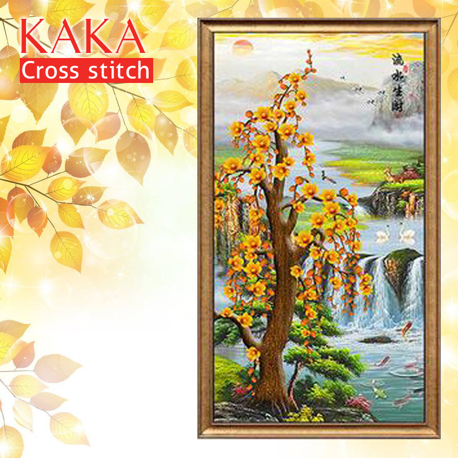 KAKA Cross stitch kits Embroidery needlework sets with printed pattern,11CT canvas,Home Decor for garden House,Water and Tree