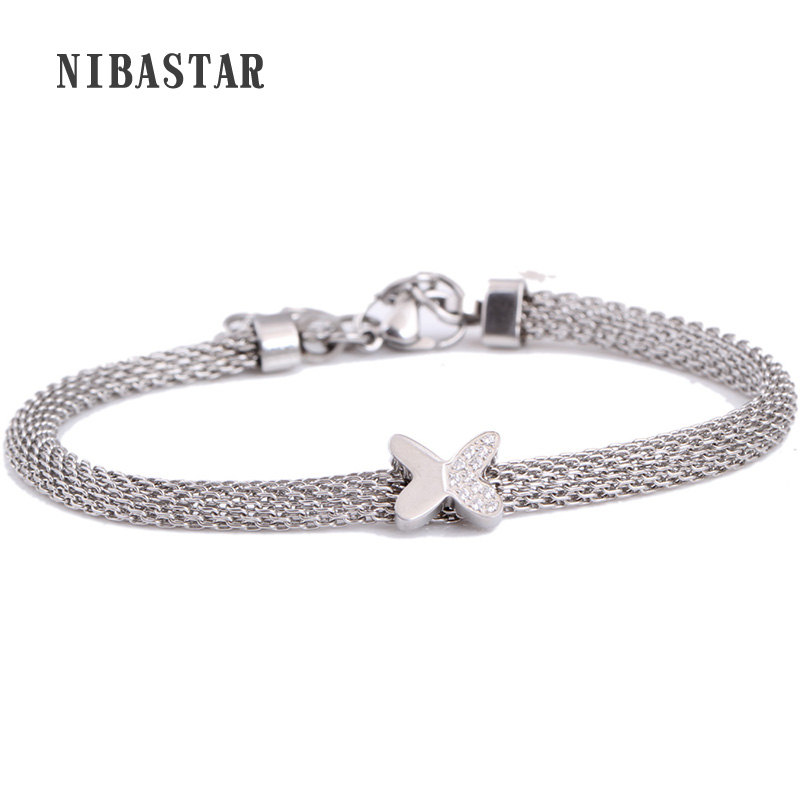 Silver Plated Crystal Butterfly Charm Bracelets For Women Stainless Steel Mesh Bracelets & Bangles Elastic Chain Jewelry