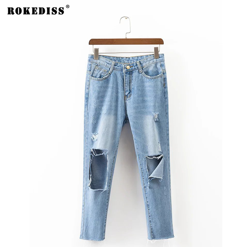 ROKEDISS Summer Women's Trousers Casual New Arrival Denim Pants Ripped Loose Jeans Holes Women Blue Feet pants X120 new arrival women blue denim overall multi pocket suspender trousers sweet jeans jumpsuits for girls