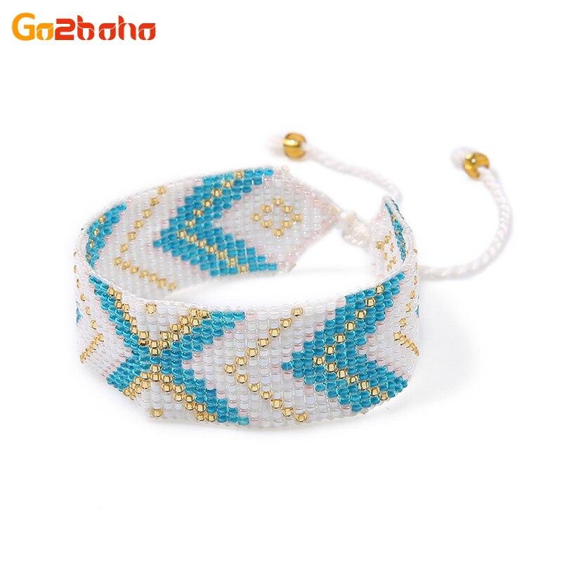 Go2boho Boho Seed Beads Bracelets Women X Geometric Patterns Ethnic Cuff Bangles Adjustable Beaded Weave Indian Bracelet Jewelry