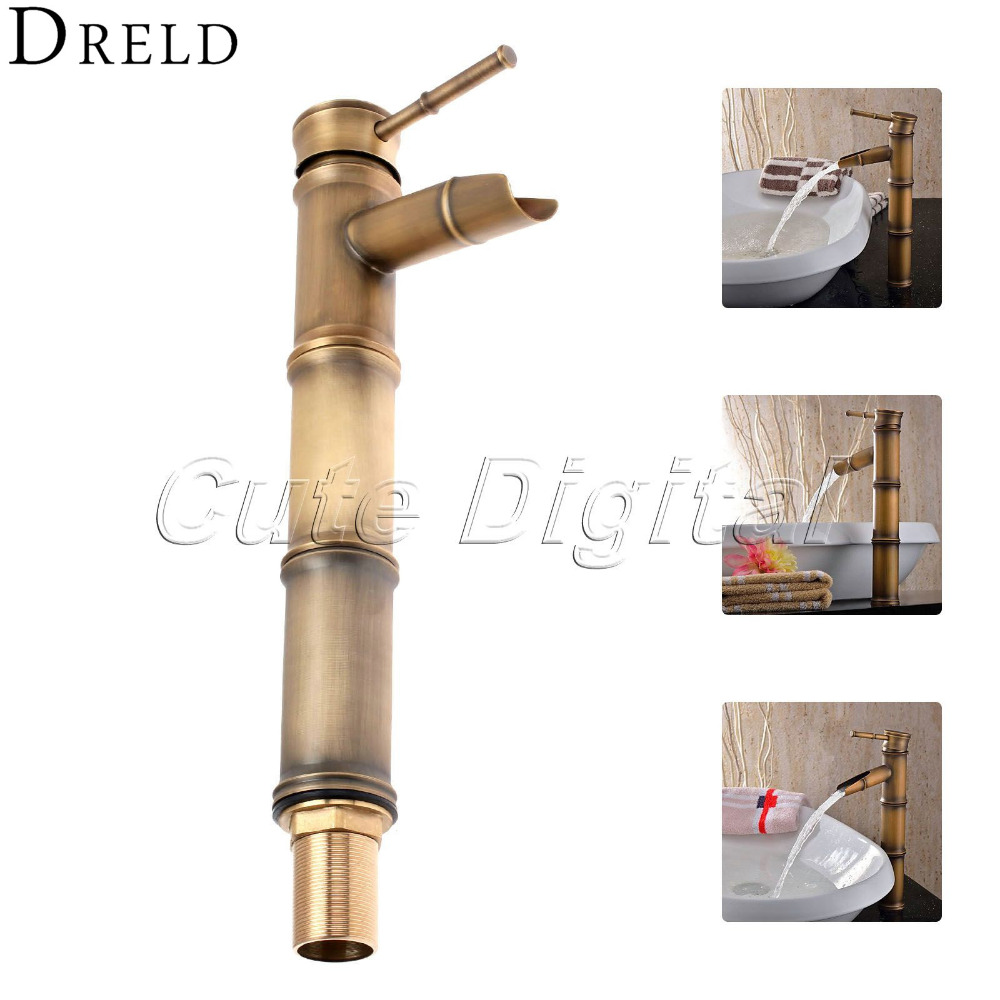Luxury Brass Deck Mounted Antique Bronze Bathroom Basin Faucet  Bath Tub Mixer Tap Hot and Cold Bath Shower Faucets Sink Faucets wall mount single handle bath shower faucet with handshower antique brass bathroom shower mixer tap