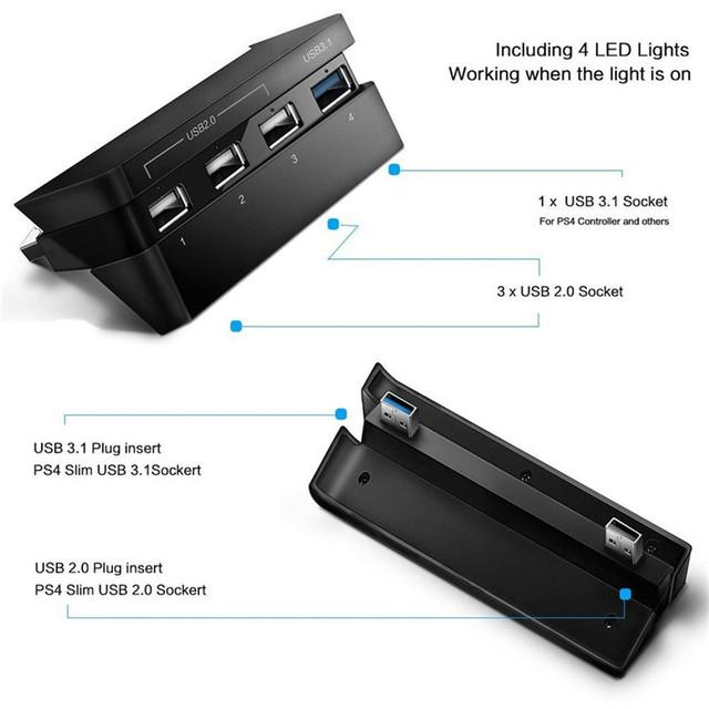 DOBE USB 4 in 1 Hub For PS4 Slim