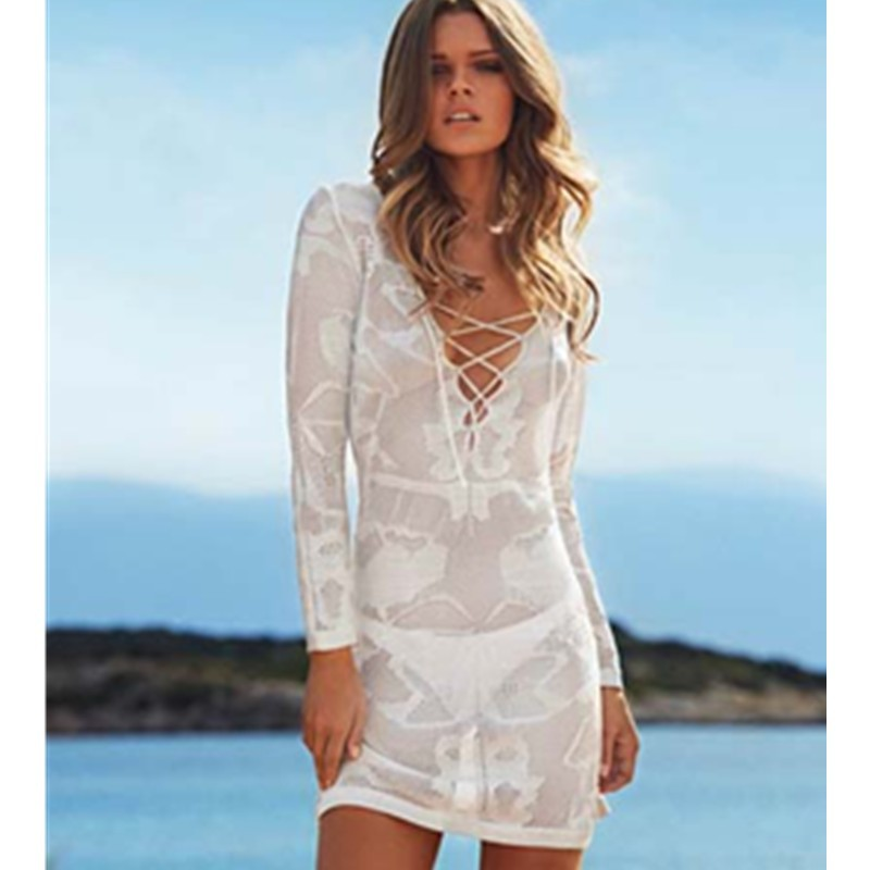 c919faa866 ... Short Top L38207- White Long Sleeve Lace Cross Front Knitted Swimsuit  Cover Up Tunic Beachwear Women Causal Beach Tunic ...