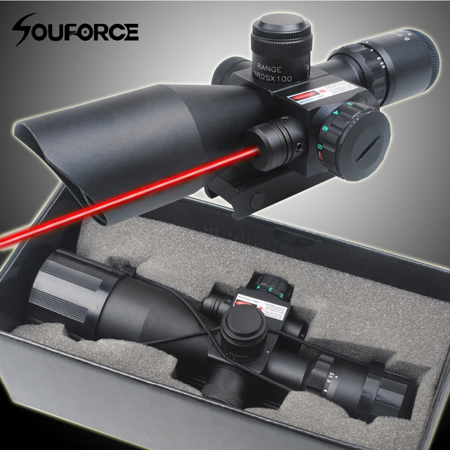 2.5-10x40 Tactical Rifle Scope with Red Laser Combo Optical Sight with Illuminated Red Green Mil-dot Crosshair for Hunting Rifle