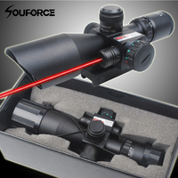 2.5 10x40 Tactical Rifle Scope with Red Laser Combo Optical Sight with Illuminated Red Green Mil dot Crosshair for Hunting Rifle