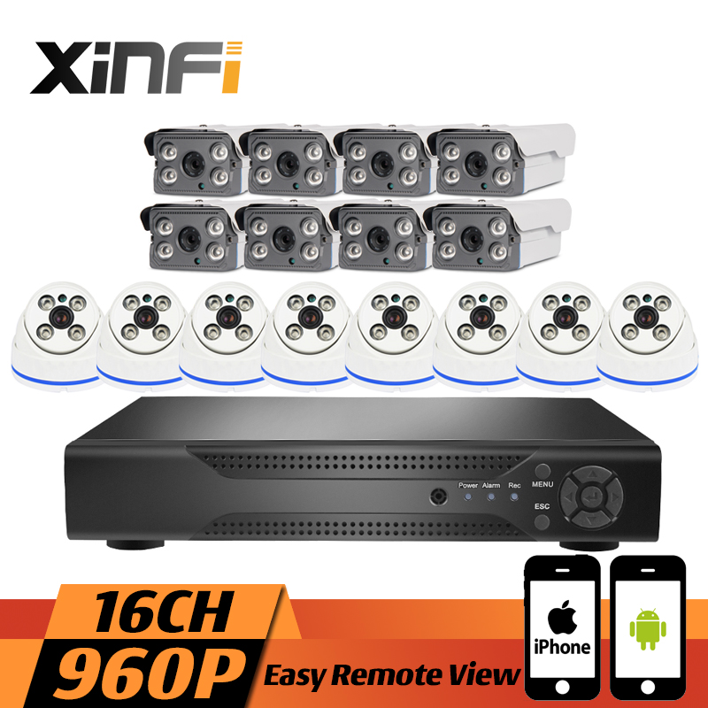 XINFI 16CH Surveillance System Indoor&Outdoor 8 dome&8 bullet 1080P NVR 960P IP cameras HD Home Security Camera System CCTV kit