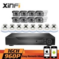 XINFI 16CH Surveillance System Indoor Out Door 8 Dome 8 Bullet 1080P NVR 960P IP Cameras