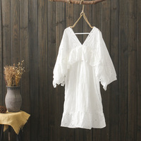 KYQIAO women boho design v neck white hollow cotton dress female summer Japanese style bohemian embroidery dress