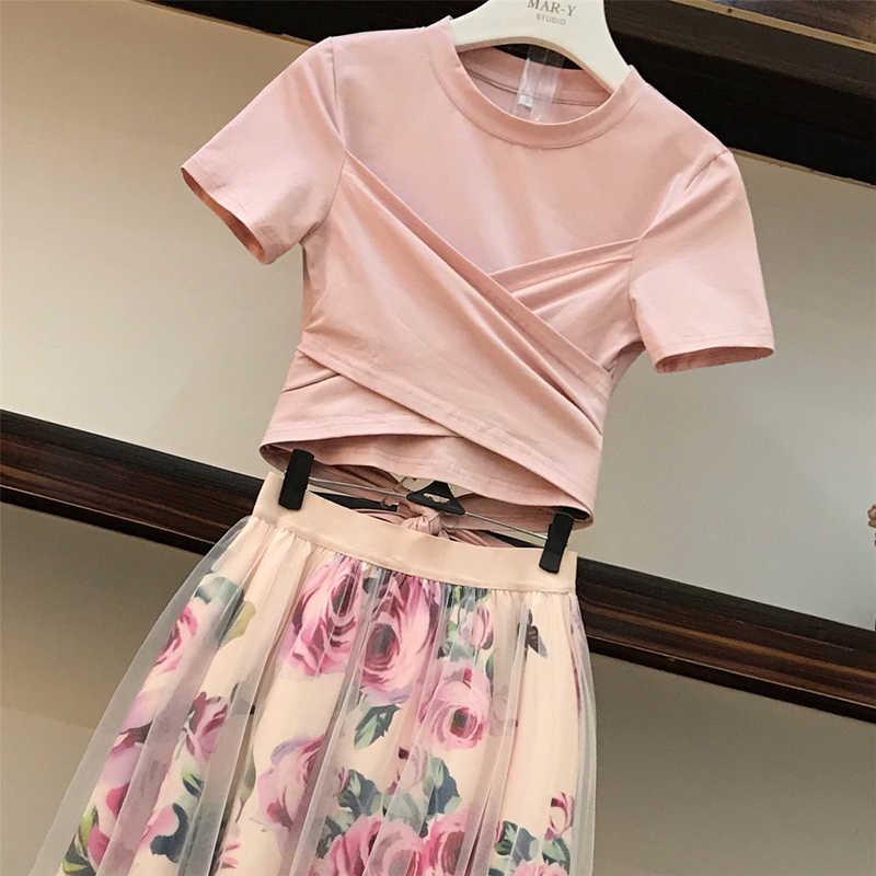 Nieuwe 2019 Runway Roze 2 Delige Set Vrouwen Sweet Strik Onregelmatige Crop Top Katoenen T-shirt + Mesh Bloemen Tulle lange Rokken Suits