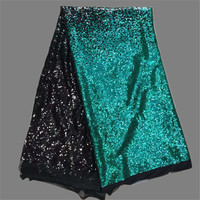 Charming Black With Teal Green Sequins African Net Lace Fabric French Tulle Lace Material For Charming