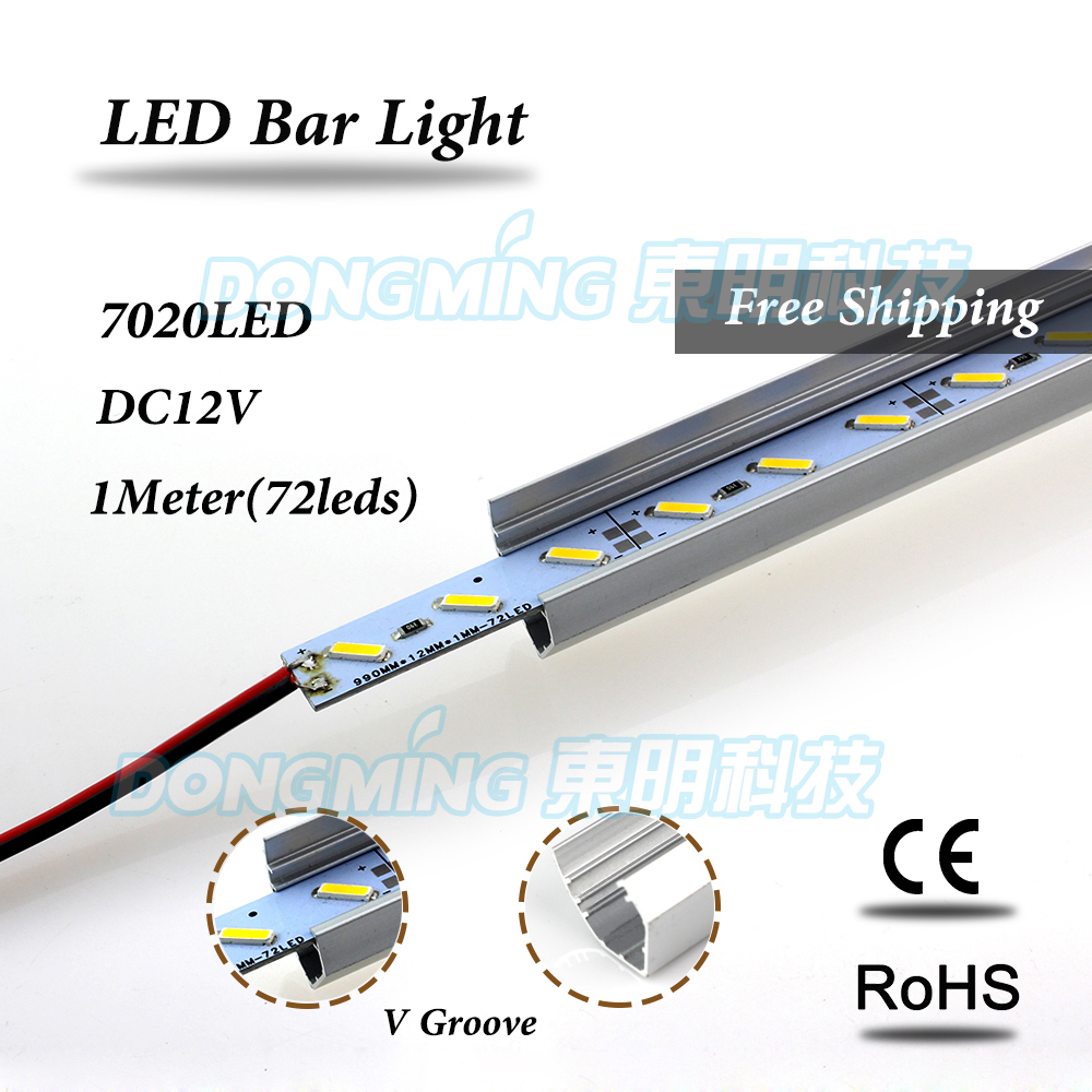 2 Year Warranty 5pcs SMD7020 72LEDs/M With U/<font><b>V</b></font>-shaped Aluminum channel <font><b>led</b></font> <font><b>bar</b></font> light <font><b>12</b></font> volt luces aluminum <font><b>led</b></font> strip image