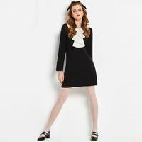 Sisjuly New Vintage 1960s A Line Elegant Dress Black Ruffled Autumn Female Dress Women S Knee