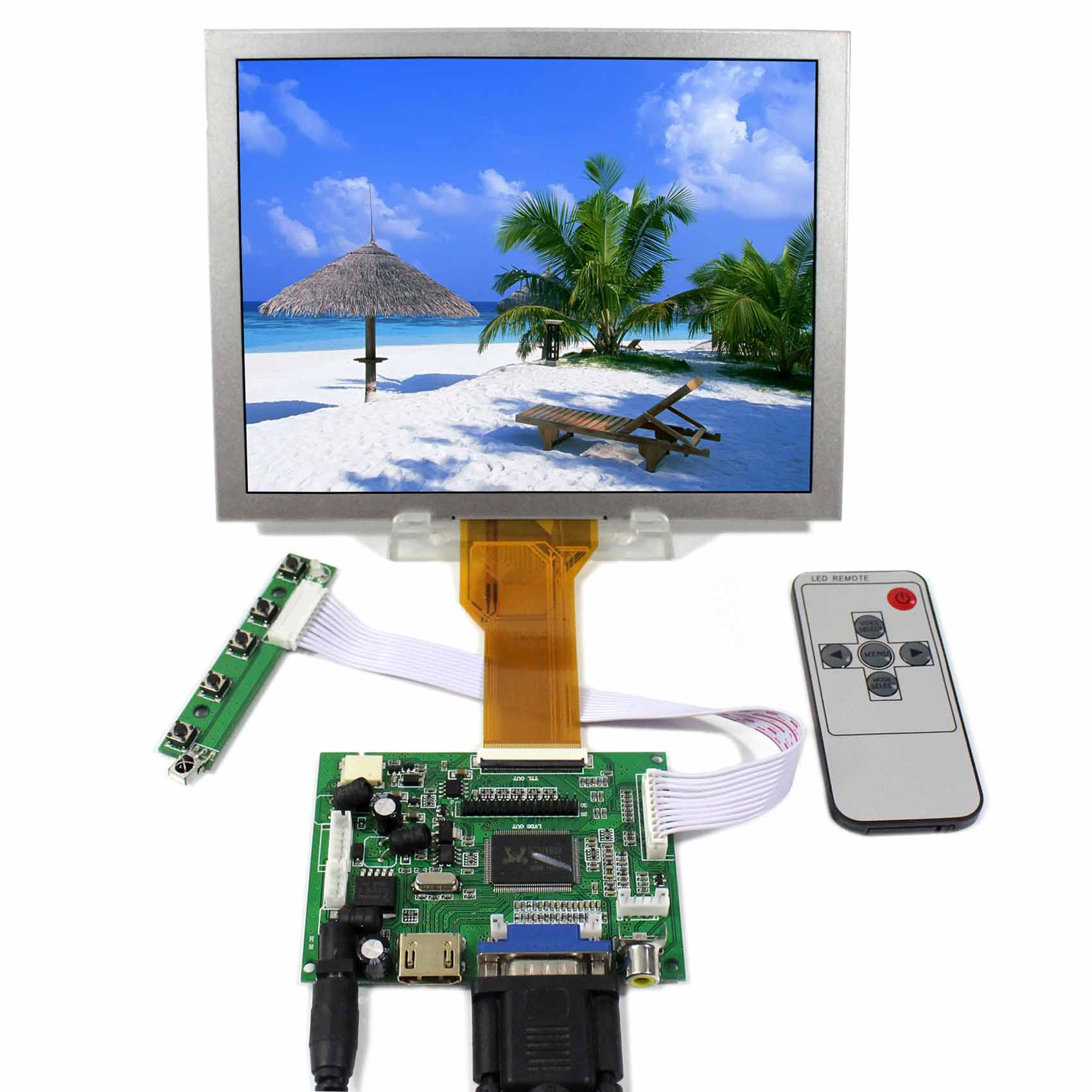 купить HDMI VGA 2AV LCD Controller Board+8inch EJ080NA-05B 800xx600 Replacement AT080TN52 LCD Screen по цене 5632.03 рублей