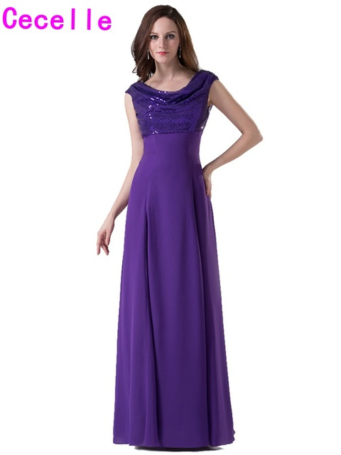 bb2d672649e1 Real Photos Purple Long Modest Bridesmaid Dresses With Cap Sleeves A-line  Floor Length Outdoor Formal Wedding Party Gowns Custom