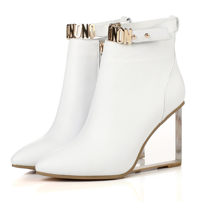 EGONERY women shoes crystal heel ankle boots side zipper sequined riding equestrian boots pointed toe metal buckles shoes 4