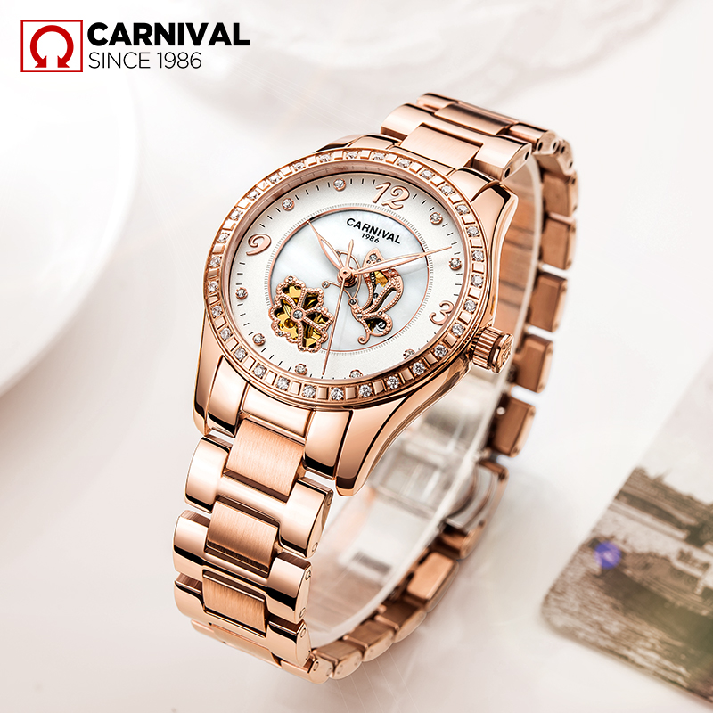 Carnival Watch Women Butterfly Dial Automatic Mechanical Luminous Gold Stainless Steel Waterproof Girls White Watches