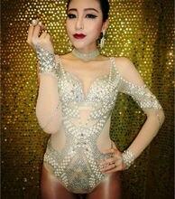 2016 New Silver Trims Sequins Glitter Bodysuit Fashion Women Nightclub Bar Shining Stage Party Leotard Costume Celebrate Dress