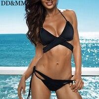 DD MM Sexy Bandage Bikini Push Up Swimwear For Women Criss Cross Top Swimsuit Halter Bikini