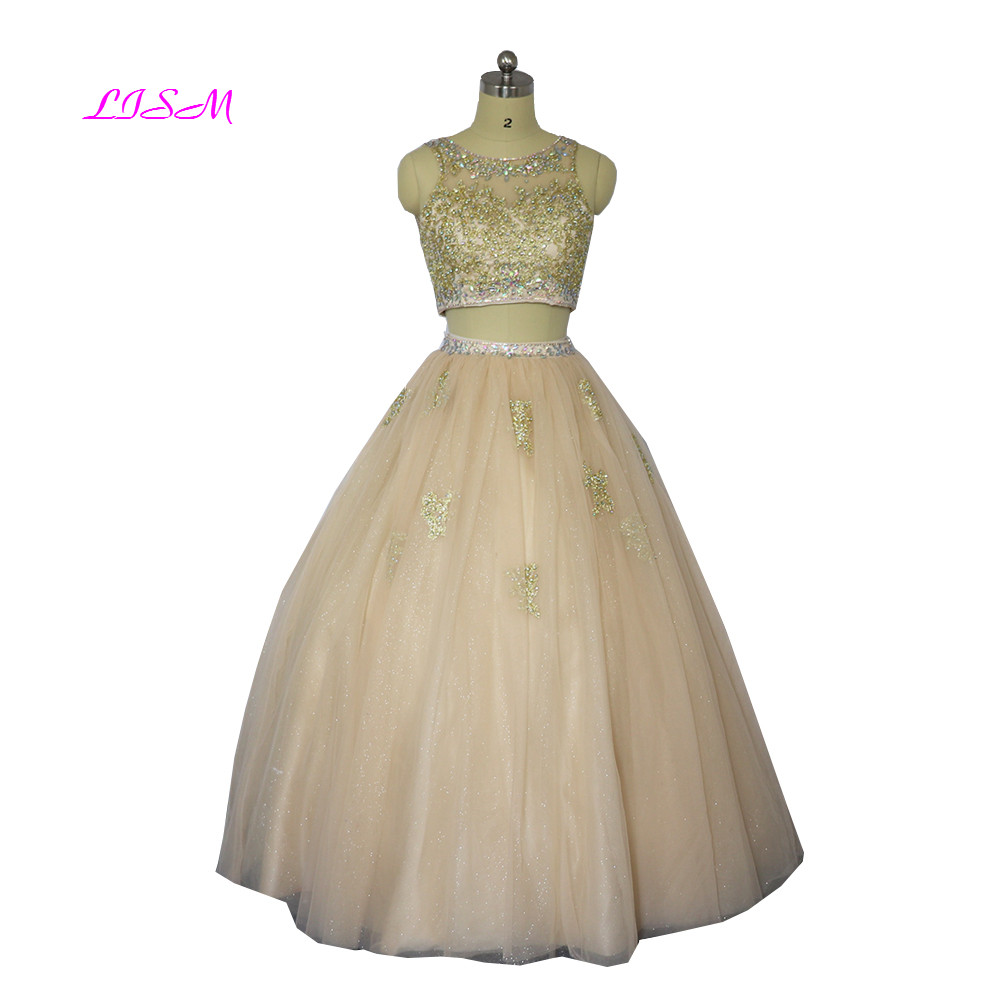 LISM Champagne Gold Appliques Crystals Sweet 16 Ball Gowns Two ...
