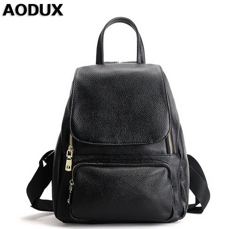AODUX First Layer Genuine Leather Women Girl Backpack Female Bags Ladies Backpacks Real Leather School Bag Cuero Genuino Mochila футболка мужская puma evo core tee цвет белый 57244502 размер xl 50 52
