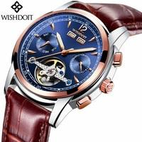 2017 WISHDOIT Esqueleto Tourbillon Reloj Mecánico Automático de Los Hombres Clásicos de Oro Rosa de Cuero Relojes de Hombre Reloj de Pulsera Mecánico