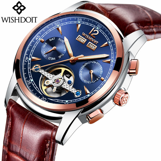 2017 WISHDOIT Skeleton Tourbillon Mechanical Watch Automatic Men Classic Rose Gold Leather Mechanical Wrist Watches Reloj Hombre