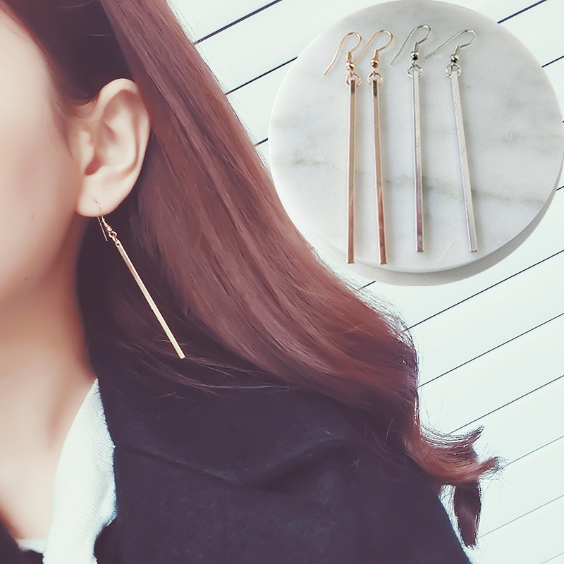 Fashion Gold Color Punk Simple Bar Earrings Long Stick Studs Earrings For Women Silver Color Jewelry Geometry Brincos Bijoux