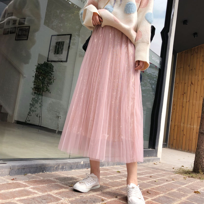 YICIYA pink skirt for women Mesh tulle tutu pleated tule rok long ankle length 2019 summer ladies hot skirts plus size clothing