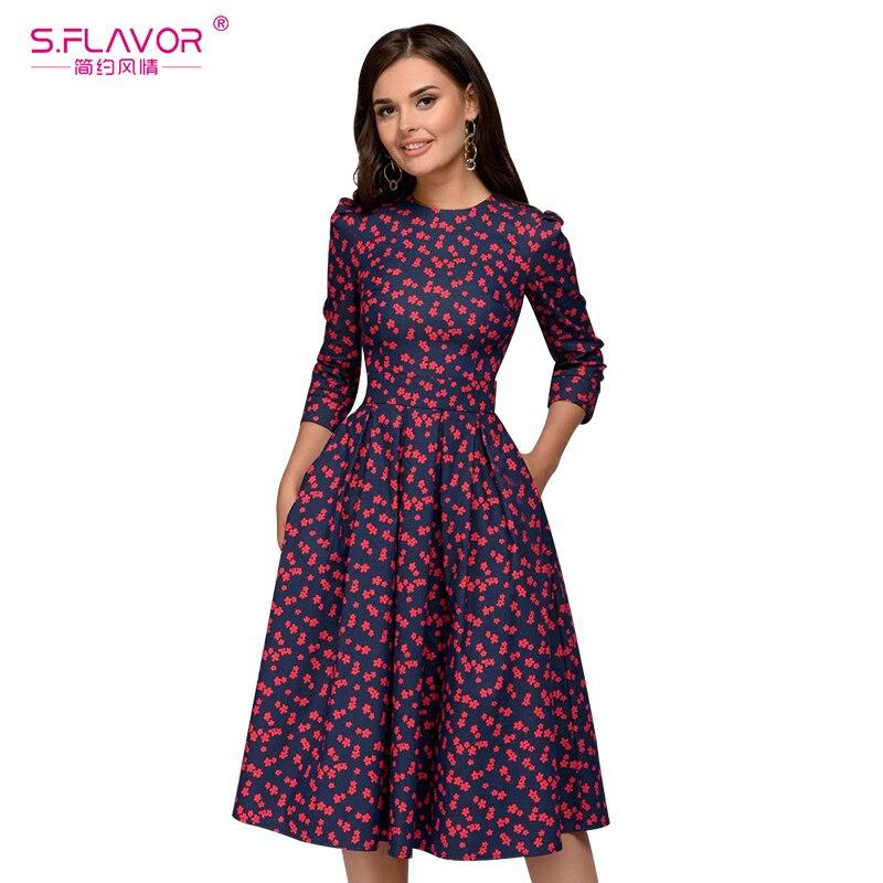 S FLAVOR Women Elegant A line Dress 2019 Vintage printing party vestidos Three Quarter Sleeve women