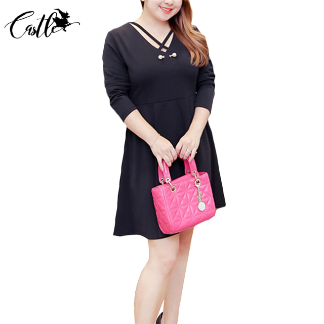 Spring new femme solid A line dress o neck casual loose knee length ... 50100c57ae9