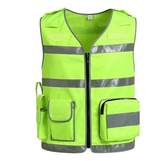 High Visibility Night Reflective Safety Clothing Multi-function Pocket Warning Reflective Traffic  Breatable Vest Printable